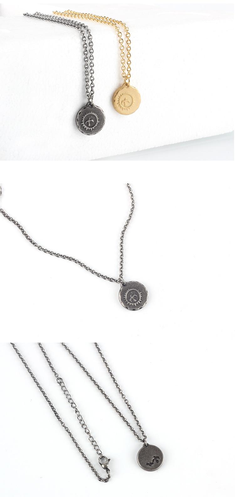 Medieval Gaucho Sun Bird Small Gold Cake Pendant Necklace Simple Retro Couple Sweater Chain Jewelry 2