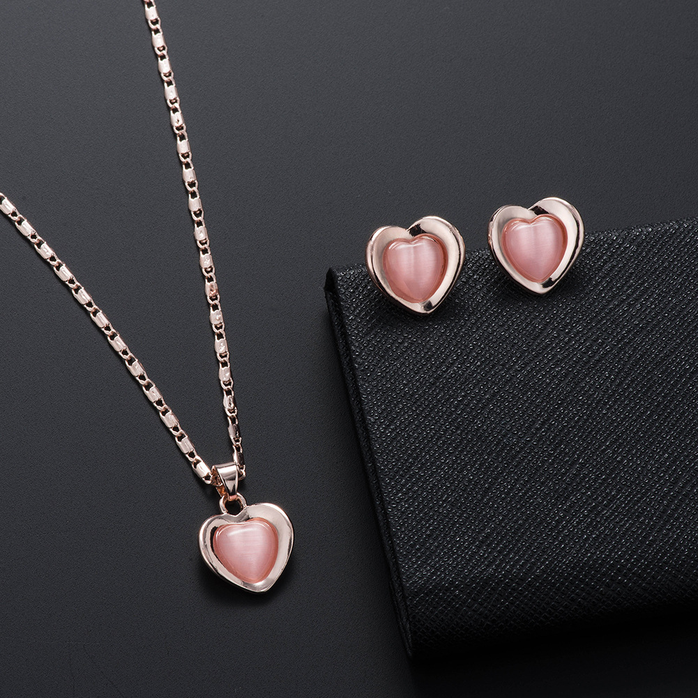 Peach Heart Necklace Earring Set Wedding Necklace Set Jewelry European and American Bridal Set 0