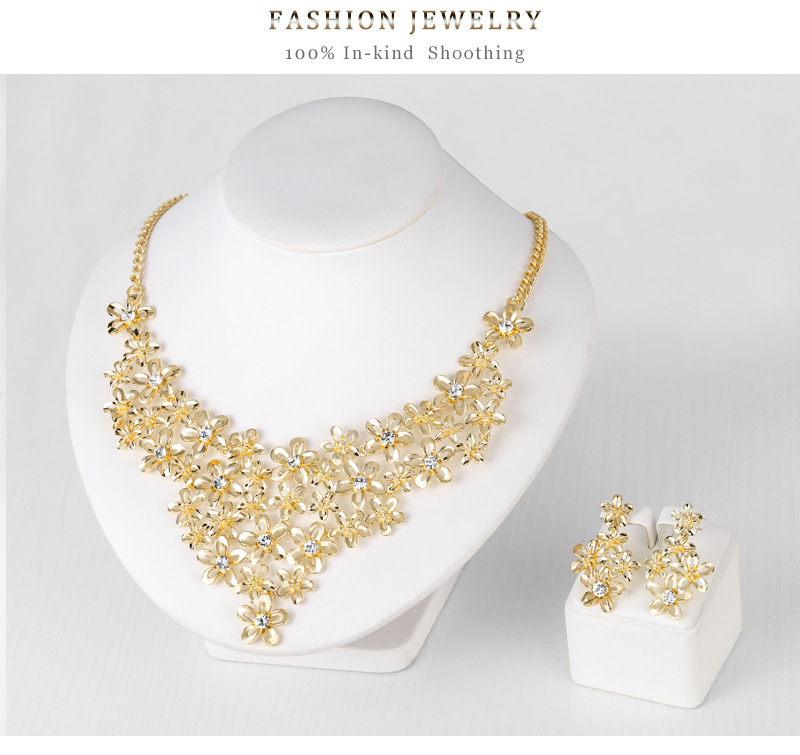 Alloy Necklace Set KC Gold Exquisite Diamond With Flower Design Necklace Earring Two-piece Set 2