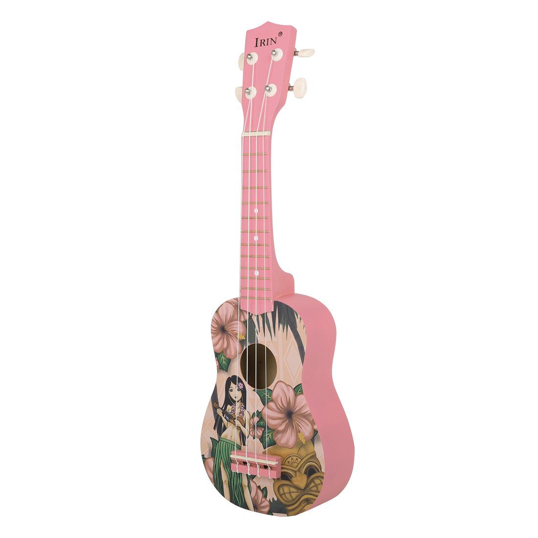 IRIN 21 Pink Inch Hawaiian Ukulele Four String Small Guitar Instrument For Girls 1