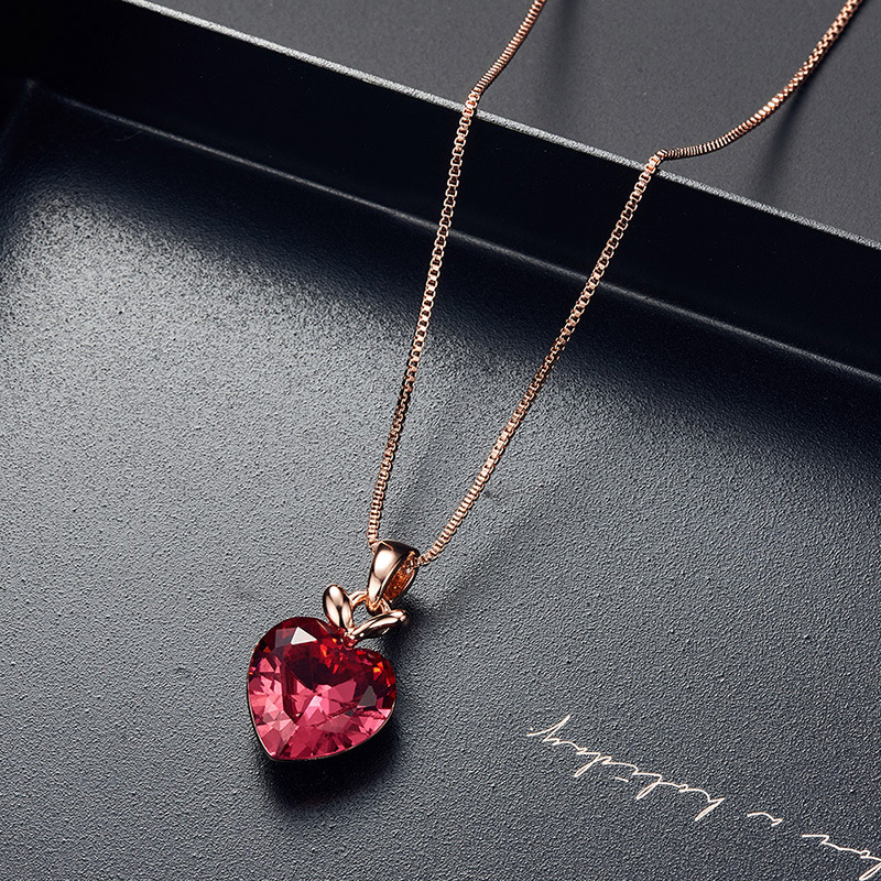 2020 ins Style Bridal Jewelry Pink Heart Apple Necklace Earring Set Ornament Set 3