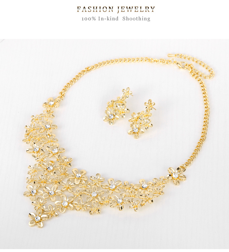 Alloy Necklace Set KC Gold Exquisite Diamond With Flower Design Necklace Earring Two-piece Set 3