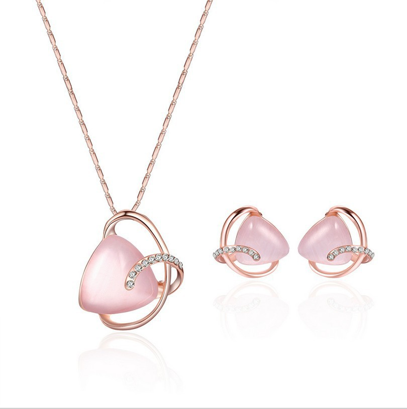 Alloy Diamond Hot Fashion Necklace Earrings Two-piece Bridal Party Jewelry European And American Set 0