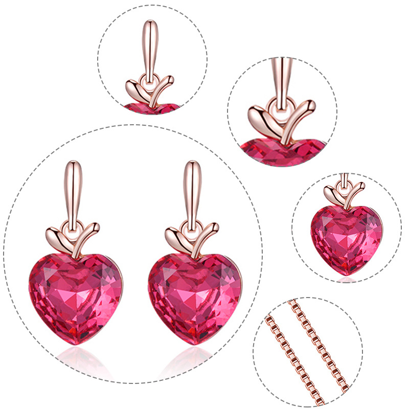 2020 ins Style Bridal Jewelry Pink Heart Apple Necklace Earring Set Ornament Set 4