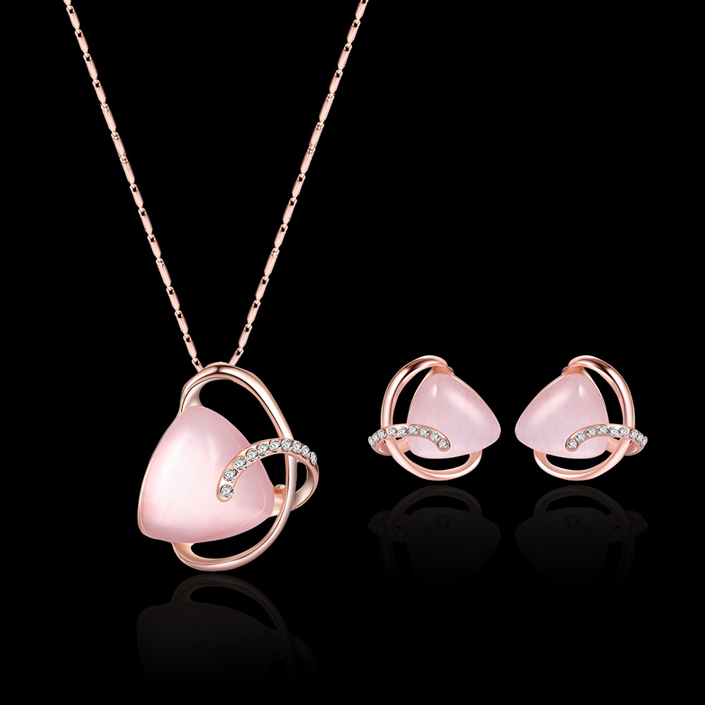 Alloy Diamond Hot Fashion Necklace Earrings Two-piece Bridal Party Jewelry European And American Set 3