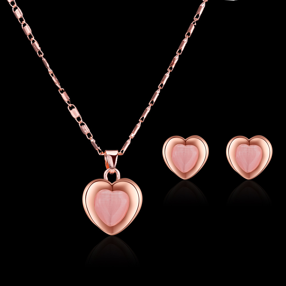 Peach Heart Necklace Earring Set Wedding Necklace Set Jewelry European and American Bridal Set 3