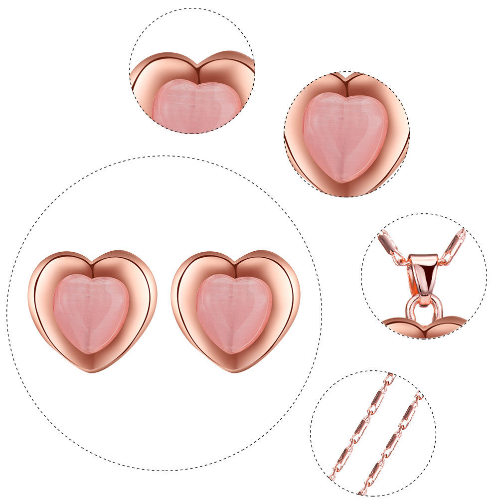 Peach Heart Necklace Earring Set Wedding Necklace Set Jewelry European and American Bridal Set 4