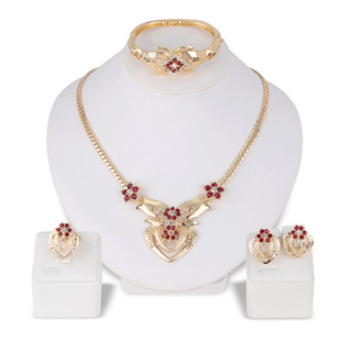 Alloy Necklace Set KC Gold Exquisite Diamond With Flower Design Necklace Earring Two-piece Set 0