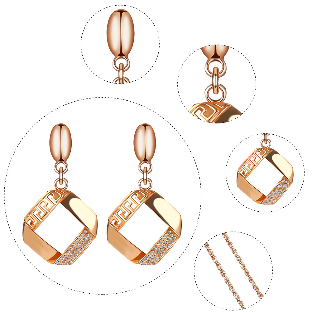 Alloy Plating Necklace Earrings Set European And American Bride Wedding Jewelry Set 4