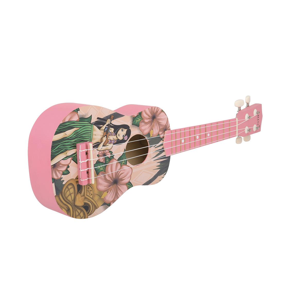 IRIN 21 Pink Inch Hawaiian Ukulele Four String Small Guitar Instrument For Girls 3