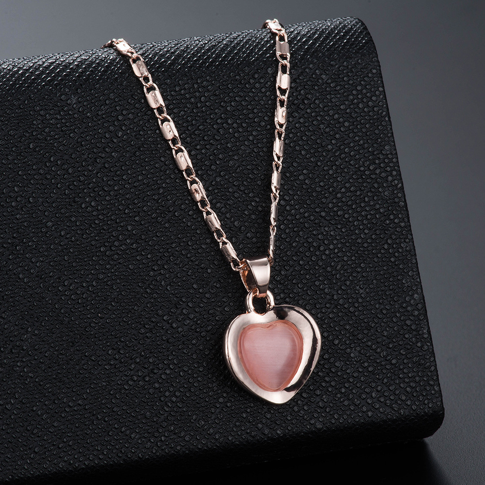 Peach Heart Necklace Earring Set Wedding Necklace Set Jewelry European and American Bridal Set 2