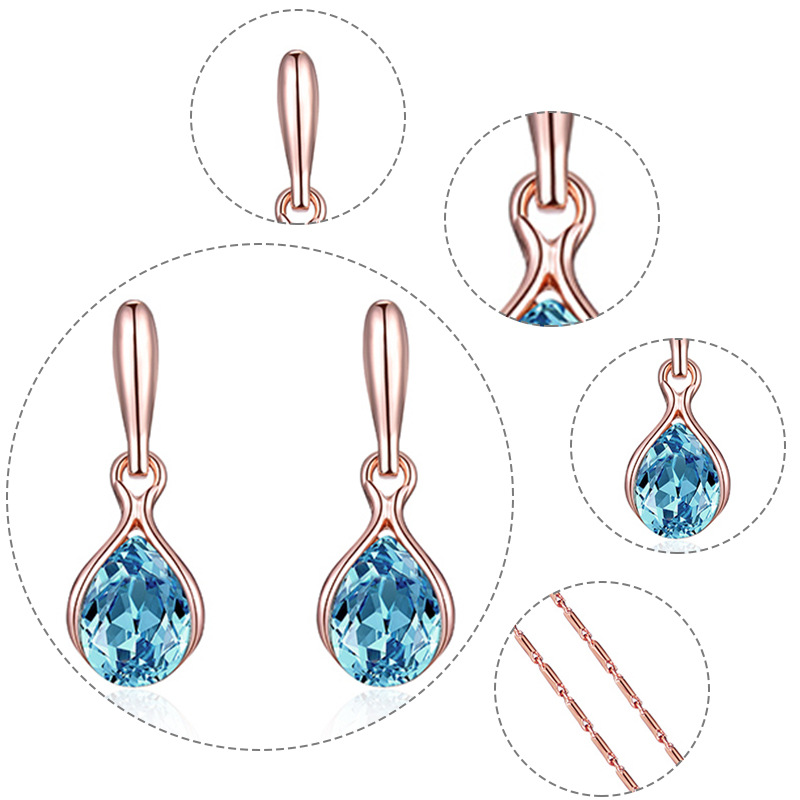 Wedding Earrings Electroplating Rose Gold Necklace Earring Set Jewelry Set For Women 3