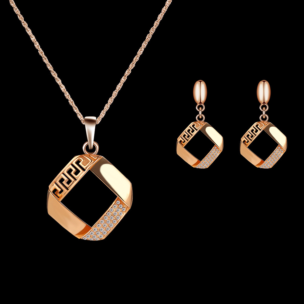 Alloy Plating Necklace Earrings Set European And American Bride Wedding Jewelry Set 3