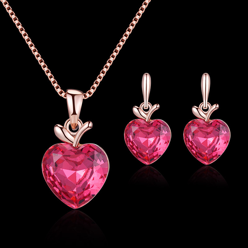 2020 ins Style Bridal Jewelry Pink Heart Apple Necklace Earring Set Ornament Set 0