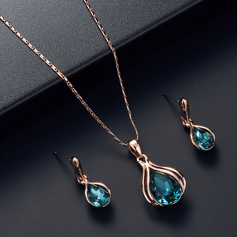 Wedding Earrings Electroplating Rose Gold Necklace Earring Set Jewelry Set For Women 0