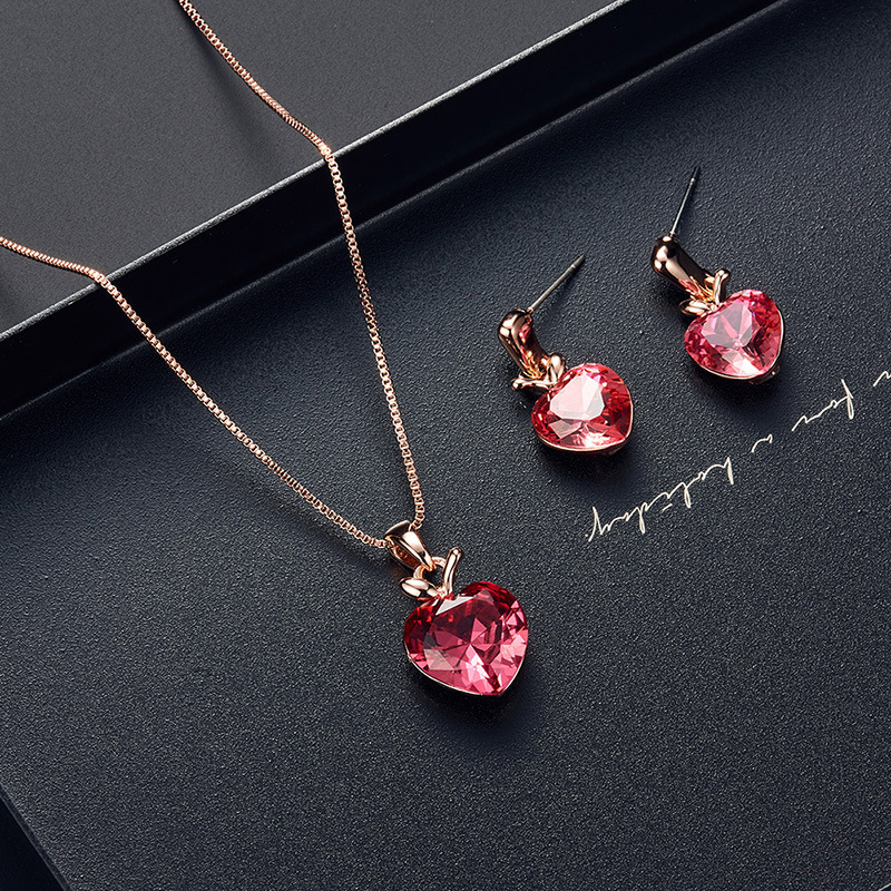 2020 ins Style Bridal Jewelry Pink Heart Apple Necklace Earring Set Ornament Set 2