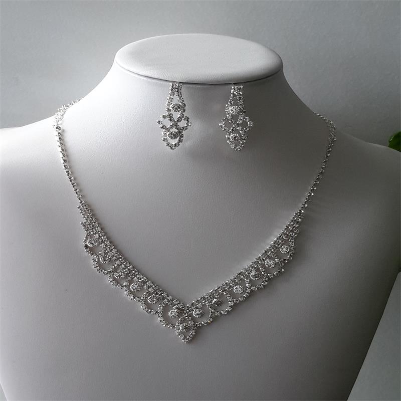 Fashion Lace Inlaid Diamond Necklace Earrings Set 602 Woman Accessories Wedding Decorations 2