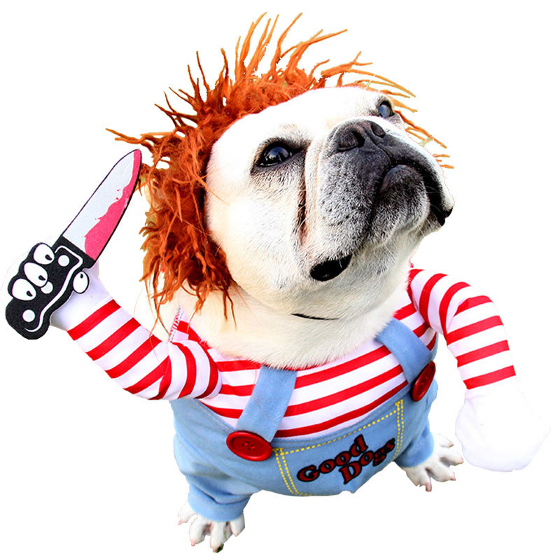 Pet Clown Dress Up Holiday Funny Halloween Christmas Dog Cat Upright Pet Autumn And Winter New Suits 3
