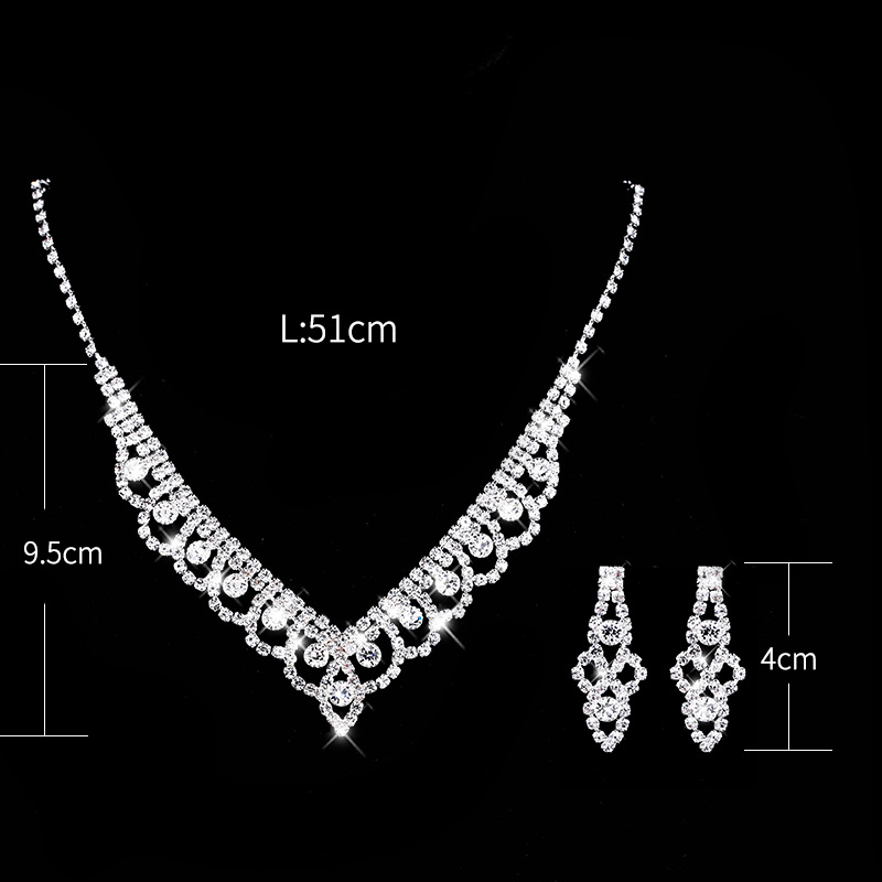 Fashion Lace Inlaid Diamond Necklace Earrings Set 602 Woman Accessories Wedding Decorations 5