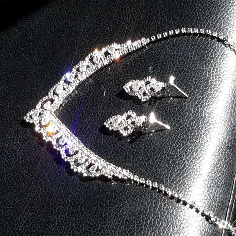 Fashion Lace Inlaid Diamond Necklace Earrings Set 602 Woman Accessories Wedding Decorations 4