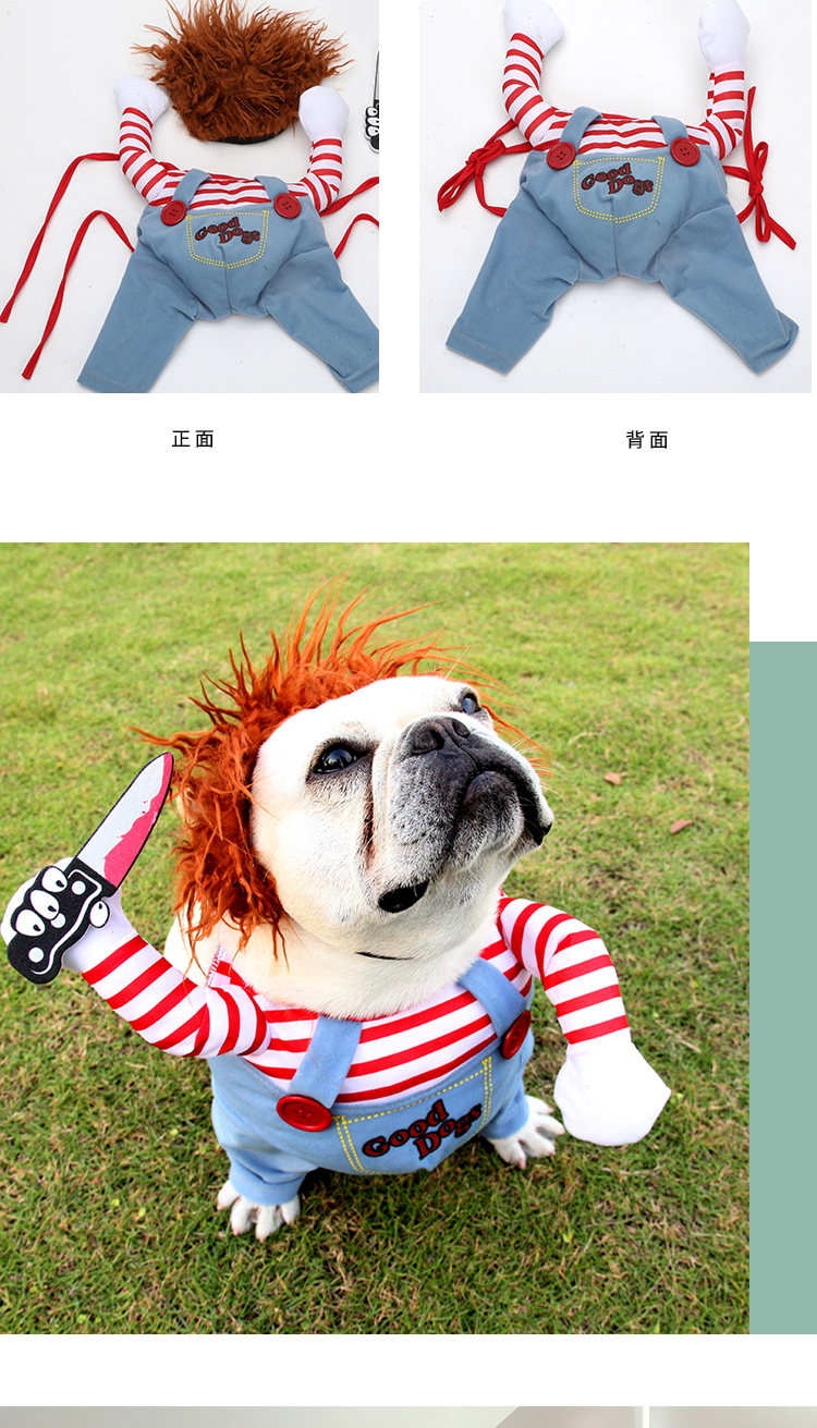 Pet Clown Dress Up Holiday Funny Halloween Christmas Dog Cat Upright Pet Autumn And Winter New Suits 5