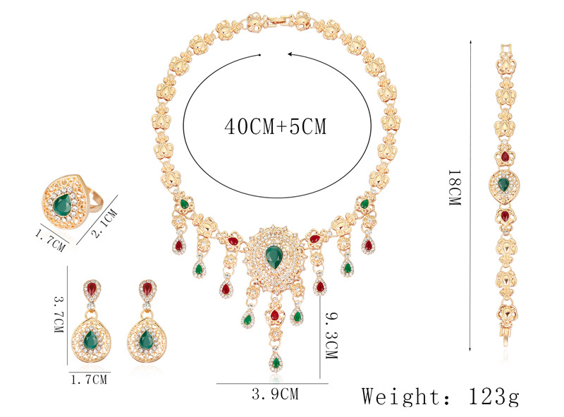 Retro Tassel Ethnic Style Gemstone Necklace Set Cross-border Exclusive Exaggerated Necklace Earrings Jewelry Set 0