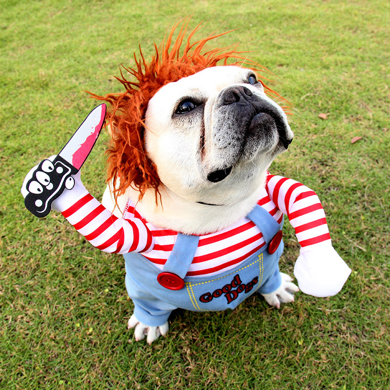 Pet Clown Dress Up Holiday Funny Halloween Christmas Dog Cat Upright Pet Autumn And Winter New Suits 0