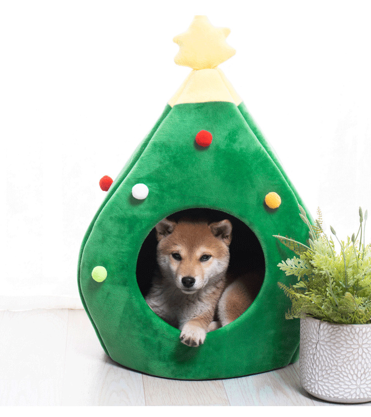 Christmas Tree Cat Litter Kennel Winter Warm Pet Litter Winter Cute Cat House For Pets 2