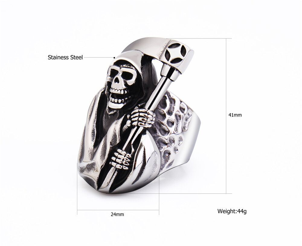 2020 In Style Personalized Retro Titanium Steel Ring Death Sickle Domineering Skull Male Ring 3