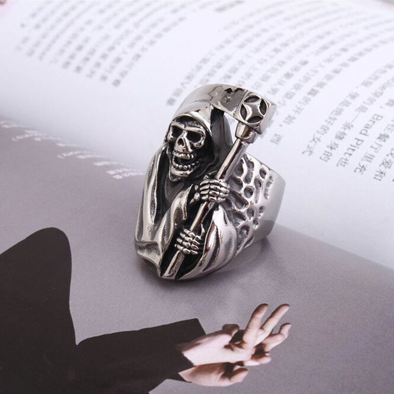 2020 In Style Personalized Retro Titanium Steel Ring Death Sickle Domineering Skull Male Ring 1