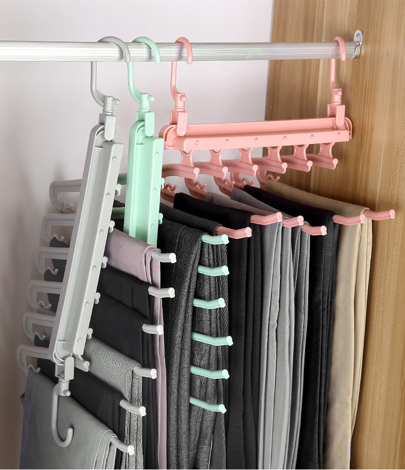 Folding Multifunctional Multi-layer Pants Rack Household Magic Pants Clip Wardrobe Storage Pants Hanger 0