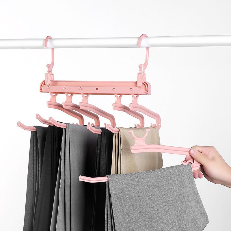 Folding Multifunctional Multi-layer Pants Rack Household Magic Pants Clip Wardrobe Storage Pants Hanger 3