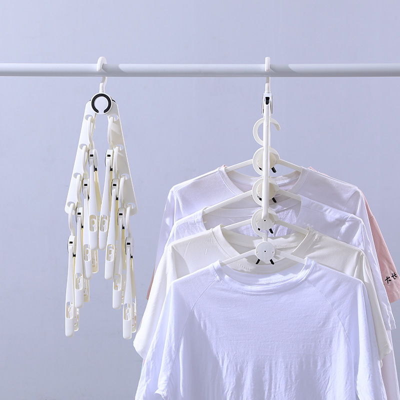 Multifunctional Eight-in-one Magic Hanger, Plastic Rotating Non-slip Clothes Hanger, Magical Adult Telescopic Pants Hanger 2