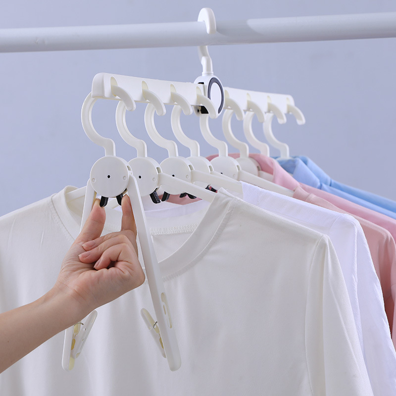 Multifunctional Eight-in-one Magic Hanger, Plastic Rotating Non-slip Clothes Hanger, Magical Adult Telescopic Pants Hanger 4