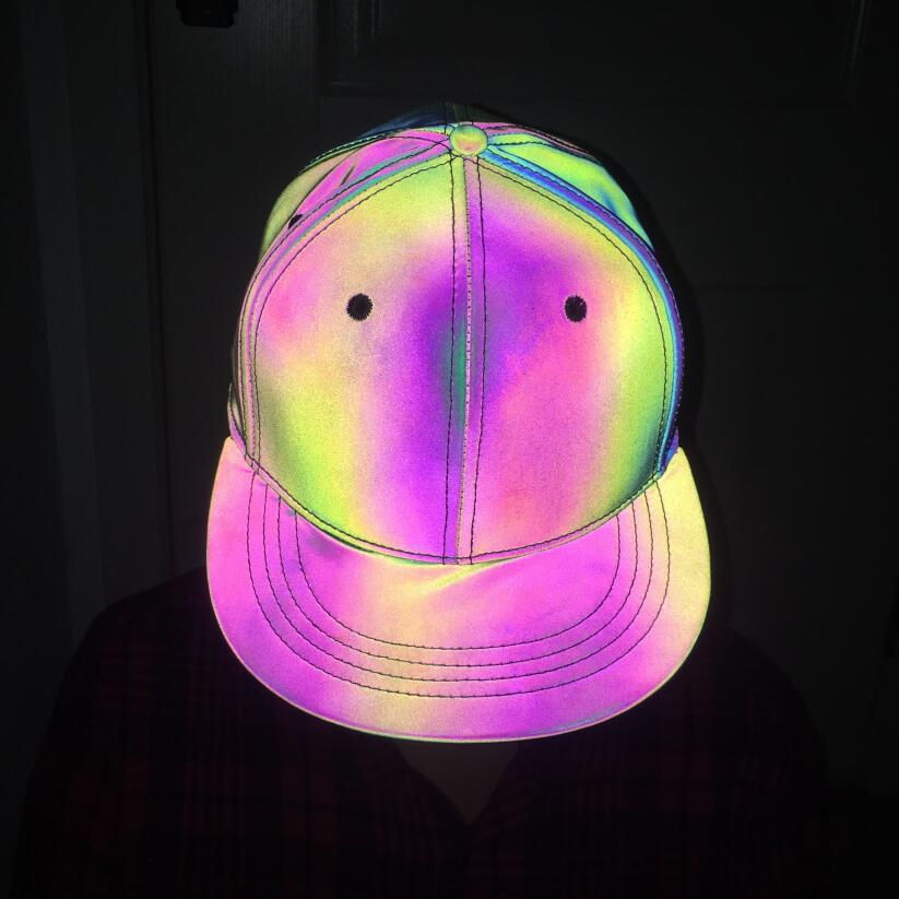 Reflective Colorful Baseball Cap Casual Seven Color Luminous Flat Brim Hat Symphony Outdoor Sun Hat For Men And Women  0