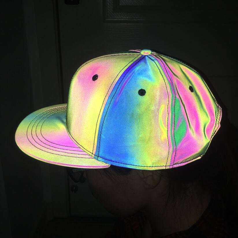 Reflective Colorful Baseball Cap Casual Seven Color Luminous Flat Brim Hat Symphony Outdoor Sun Hat For Men And Women  3