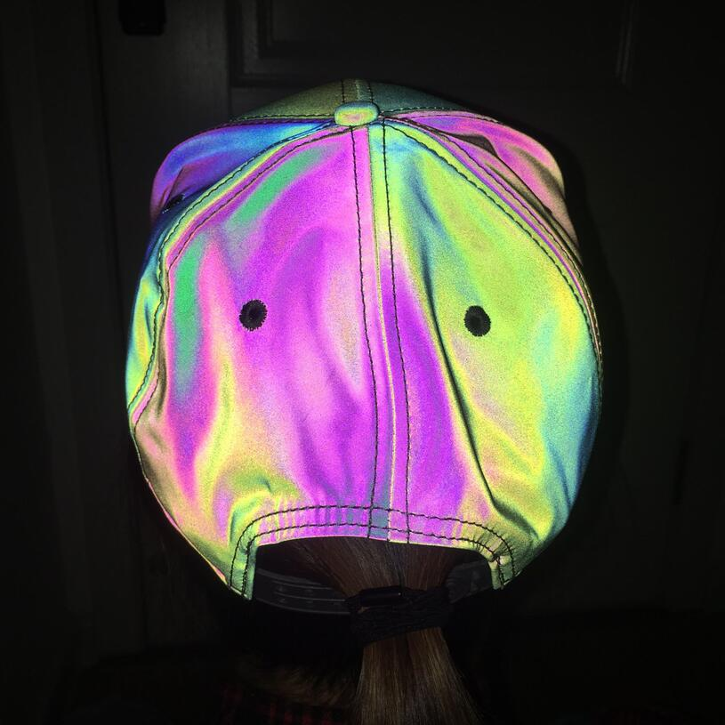 Reflective Colorful Baseball Cap Casual Seven Color Luminous Flat Brim Hat Symphony Outdoor Sun Hat For Men And Women  1