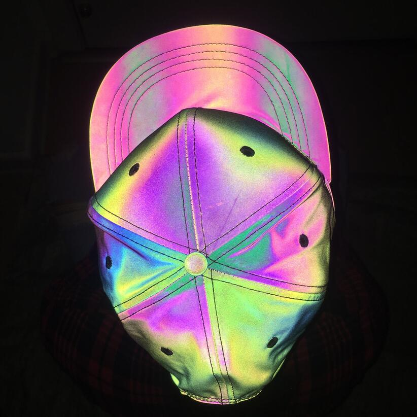 Reflective Colorful Baseball Cap Casual Seven Color Luminous Flat Brim Hat Symphony Outdoor Sun Hat For Men And Women  2
