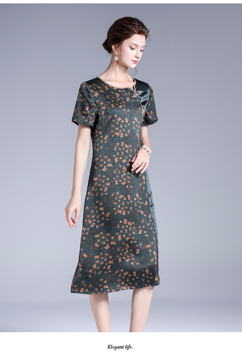Silk Fragrant Cloud Satin Color Dress, Silk And Satin Digital Printing Long Dress, Comfortable And Breathable Mulberry Silk Female Skirt 0