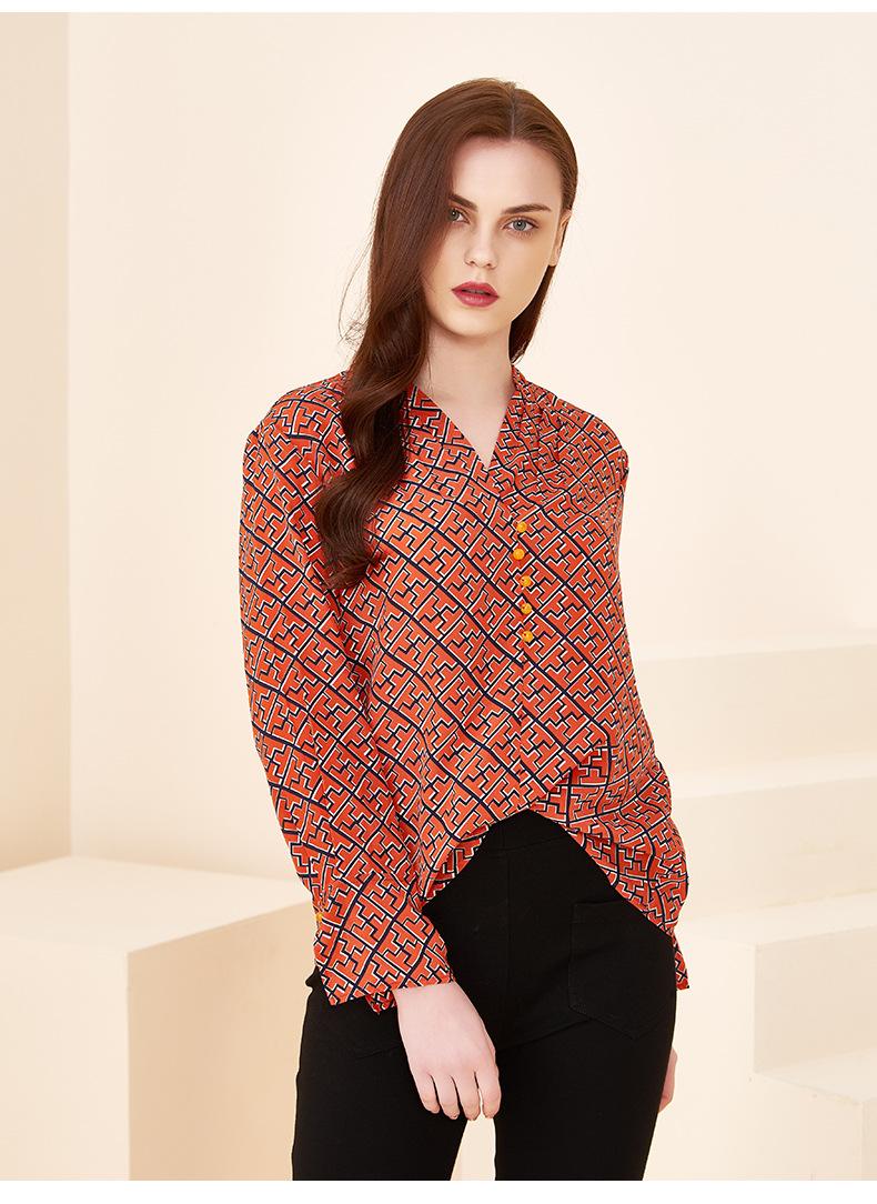 Long-sleeved Color Printed Silk Shirt Women 2020 Spring New Shirt Round Neck Mulberry Silk Temperament Top 0