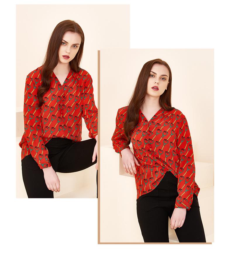 Long-sleeved Color Printed Silk Shirt Women 2020 Spring New Shirt Round Neck Mulberry Silk Temperament Top 3