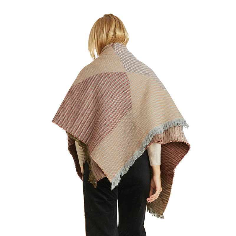 Shawl European And American Winter Thickened Wild Decorative Scarf Imitation Cashmere Geometric Pattern Scarf Shawl For Women 2