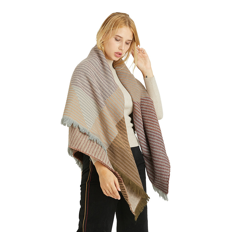 Shawl European And American Winter Thickened Wild Decorative Scarf Imitation Cashmere Geometric Pattern Scarf Shawl For Women 1