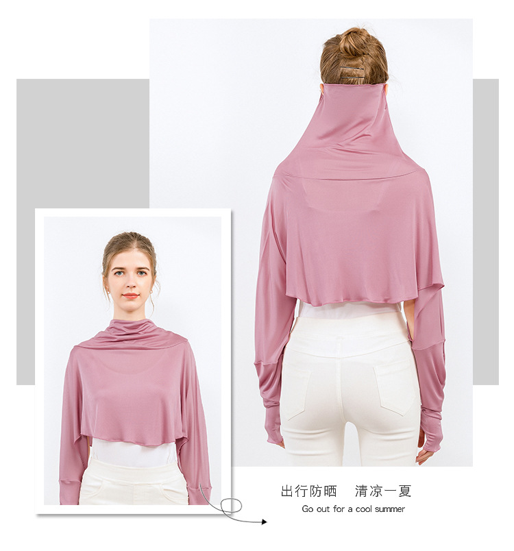 Silk Sunscreen Shawl Women's Summer Long-sleeved Driving Cloak Bib Cycling Mask Mulberry Silk Cloak One Sunscreen Clothing 2