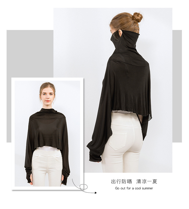 Silk Sunscreen Shawl Women's Summer Long-sleeved Driving Cloak Bib Cycling Mask Mulberry Silk Cloak One Sunscreen Clothing 8