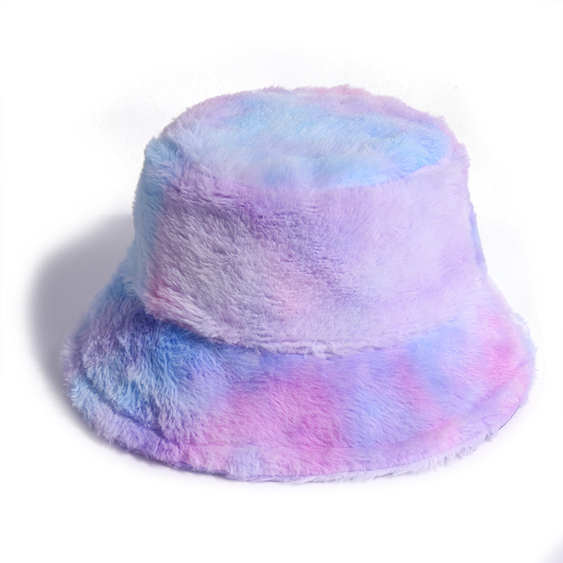 Rainbow Color Plush Fisherman Trendy Hat Winter Korean Fashion Wild Warm Pot Hat For Girls 5