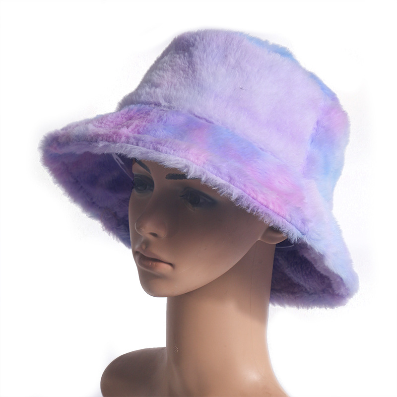 Rainbow Color Plush Fisherman Trendy Hat Winter Korean Fashion Wild Warm Pot Hat For Girls 2
