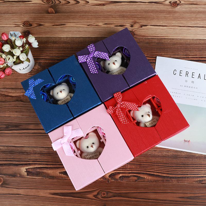 Bear Soap Flower Folio Gift Box Tanabata Valentine's Day Gift Creative Christmas Small Gift Simulation Rose Flower 0