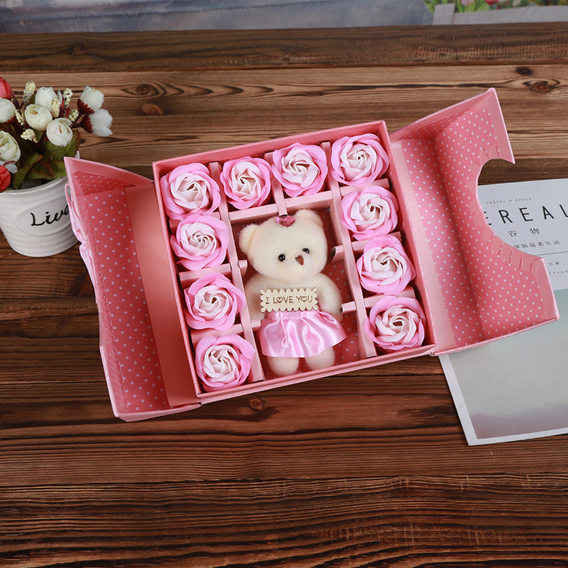 Bear Soap Flower Folio Gift Box Tanabata Valentine's Day Gift Creative Christmas Small Gift Simulation Rose Flower 1
