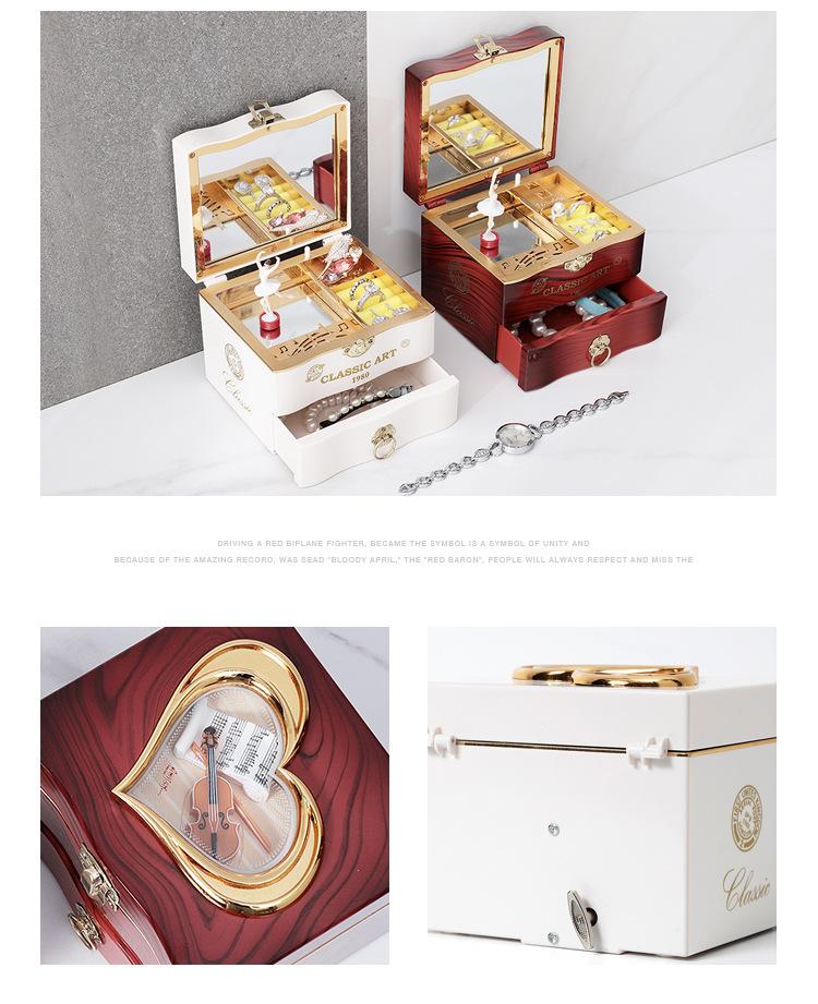 Classical Elegant Violin Quartet Jewelry Box Creative Rotating Dancing Girl Music Box Music Box Boutique 3